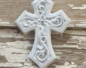 Small White Cast Iron Wall Decor Cross