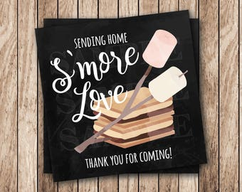 Instant Download . Printable Smore Thank You Tags, Printable S'more Love Tags, Smore Tags, S'more Favor Tags