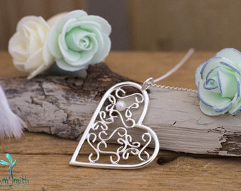 Sterling Silver Filigree Heart with Freshwater Pearl