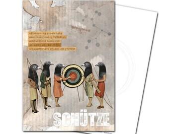 Postcard Sagittarius Zodiac birthday greeting card birthday