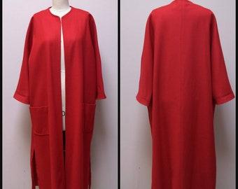 VINTAGE 1950s True Red Lightweight Wool Full Length Open Front Swing Dress Suit Coat Size S/M