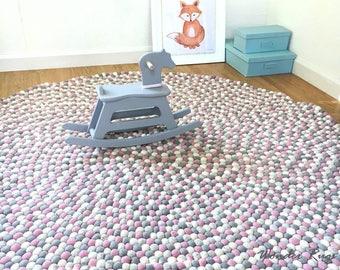 Felt ball rug Kids area  - Pink and gray nursery carpet - Pom pom rug for girl room - Baby rug  playroom mat - Children's floor rugs Custom