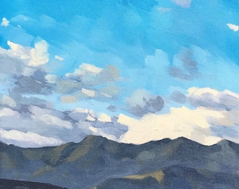 California Oil Painting -  10x20 - Carpinteria Landscape painting Evening Clouds by Sharon Schock