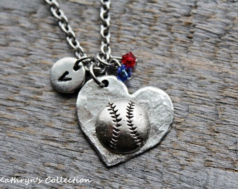 Baseball Necklace, Softball Necklace, Baseball MOM, Softball MOM, Sports Team Jewelry, Baseball Softball Coach, Your Team Colors
