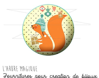 2 cabochons craft Christmas squirrel ref 1464 glass 20 mm.