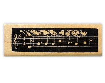 Bird Song mounted rubber stamp, music staff, notes, singing birds, Auld Lang Syne, New Year's, Sweet Grass Stamps No.10