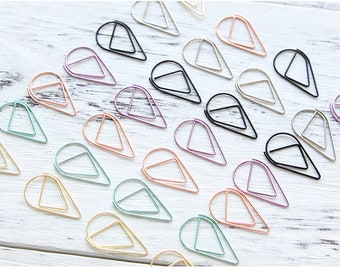 6 color teardrop Paper Clips,Teardrop Paperclips,Planner Journal Paper Clasp,School Office Stationery Supply