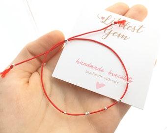 Red String Bracelet - Bracelets for Women, Friendship Bracelet, Minimalist Jewelry, Tassel Bracelet, Thread Bracelet, Birthday Gift