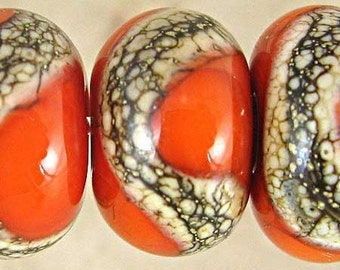 Orange Lampwork Glass Bead Set of 6 Small 11x7mm Phoenix