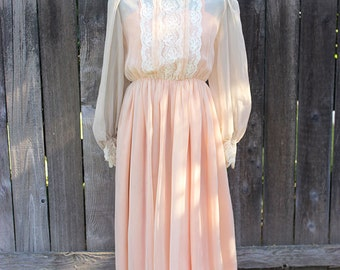 Womens Vintage Formal Dress, Victorian Style Long Dress, Turtleneck Evening Gown, Costume Dress, Peach Sheer Fabric w/ Lace Size Small