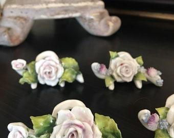 Porcelain Place Card Holders Capodimonte Pink Rose Floral Vintage Set 4 - #T0512