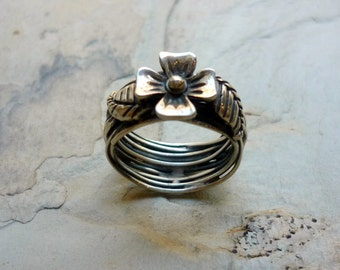 Sterling Silver Ring, Floral Silver Ring, Wide Silver Ring, Woodland Ring, Floral ring, Organic Ring, Silver Flower Ring, Botanical Ring.