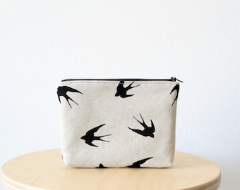 Cosmetic bag, Zipper pouch, Small clutch, Swallow print, School supplies, Birds, Nature, Natural linen look