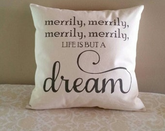 Merrily, merrily, life is but a dream | 14x14 inch pillow | Row your boat, Baby Gift, Nursery Decoration, Nursery Rhyme Song Birthday Gift