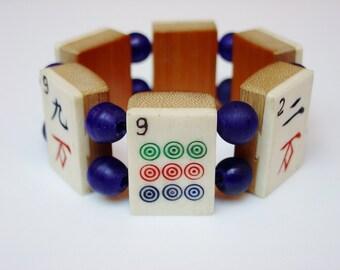 MahJong Bracelet / Mah-Jong / Bracelet / Cobalt / Vintage / Bone / Bamboo / Hand Carved / Jewish / Gift / Jewelry / Judaica / Asian / OOAK