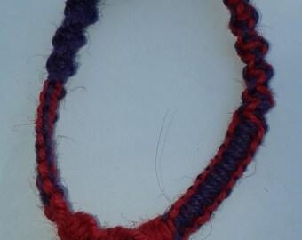 Red and purple  swirls hemp bracelet