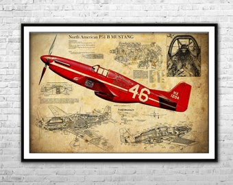 Airplane propeller canvas print airplane multipanel canvas p 51 mustang blueprint north american aviation fighter bomber archival print airplane blueprint wall malvernweather Gallery