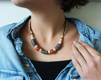 Blue/orange ethnic Choker