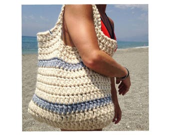 Cream crochet beach bag / cream shoulder bag / crochet tote bag / chunky market bag / craft bag / chunky tote bag / cream market bag