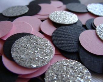 Wedding Confetti, Pink, Black and Silver Wedding Confetti, Bridal Shower Decorations, Bachelorette Party, Birthday Party Table Decor