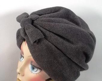 Polar fleece, fashion turban, hat, gray, lined, full turban, winter, vintage style, designer. Size Sm, Med, L, XL. Free shipping in USA.