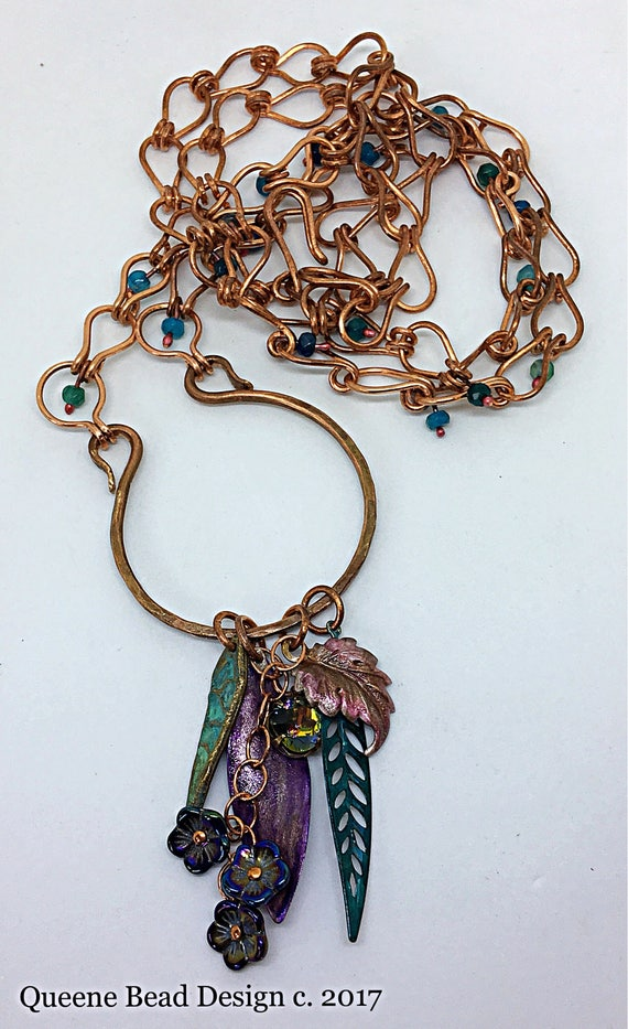 Long Handmade Chain and Charm Necklace with Leaves and Flowers #queenebead