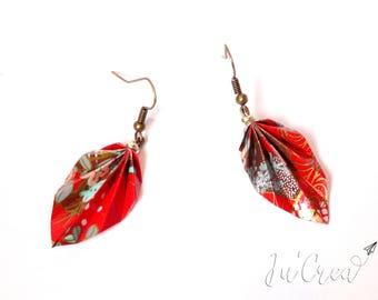 Origami red leaf earrings