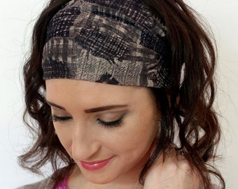 Wide Headband Wrap Womens Headband Black Gray Vintage Plaid Cotton Silk Head Wrap Head Scarf