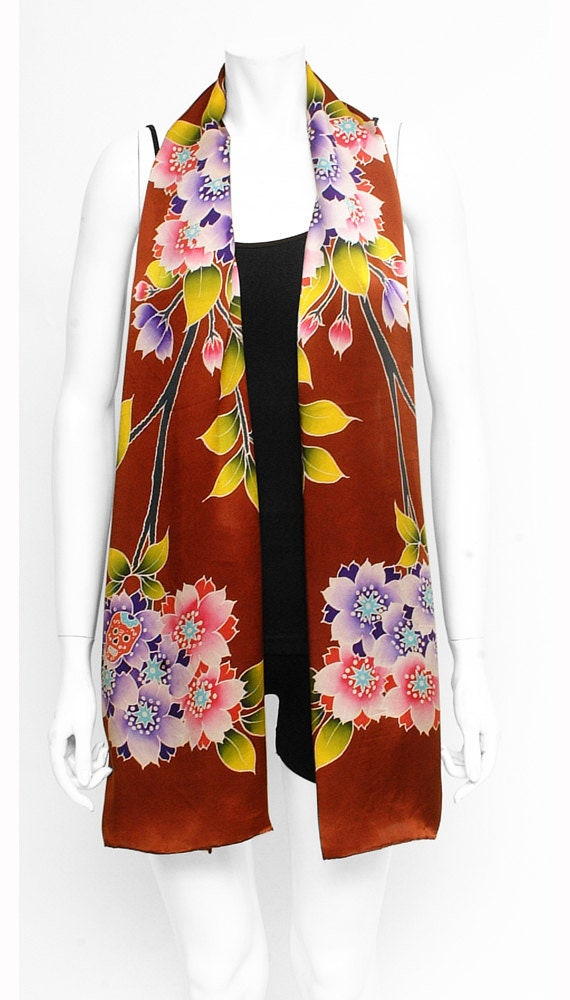 Beautiful fashion flower hand painted scarf with cherry blossoms