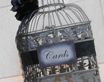 Gothic Black Rose Wedding Birdcage Card Holder | Wedding Card Box | Gothic Wedding Decor | Victorian Wedding Decor | Victorian Card Box