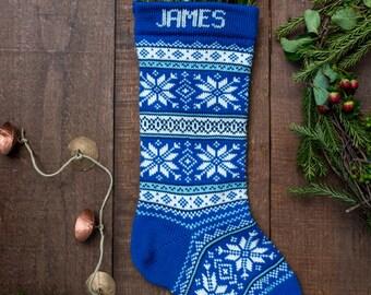 Wool Christmas Stocking Nordic Blue