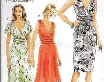 Vogue V8182 Dress V Neck Gathered Bodice Sleeveless Summer Sewing Pattern UNCUT Size 12, 14, 16