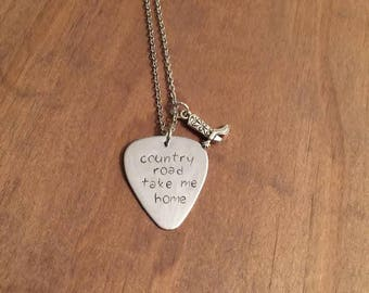Guitar Pick and Boot Charm Necklace- Hand Stamped Guitar Pick- Country Road Take Me Home Guitar Pick Necklace-
