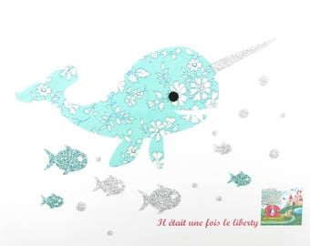 Applied fusing whale narwhal liberty Capel flex and mint glitter whale pattern whale whale iron-on patch applique