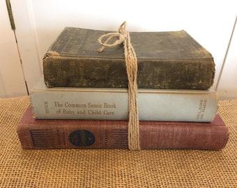 Vintage books, Vintage prints, Old Book set, Book collector, Antique books, Library, Book lover, Farmhouse Decor, Vintage Decor