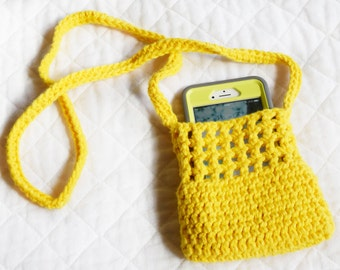 Large Cross-body Crocheted Cell Phone Holder or Bag, Bright Yellow Cell Case w/ Strap, Eco-friendly Cotton Pouch, Crossbody Phone Carrier