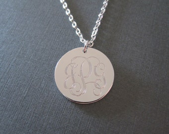 Personalized White Gold Engraved Monogram Name Circle Necklace - 4 Pendant Sizes - Monogram Initial Necklace - Monogrammed Gifts
