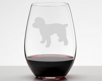 Cockapoo Silhouette Etched Stemless Wineglass