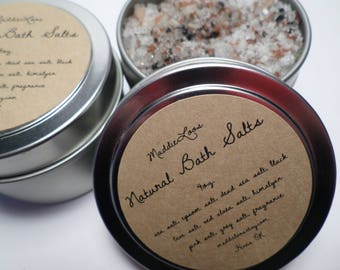 FREE SHIPPING/Vegan/Natural/Organic Bath Salts-Your Choice of 10 Scents- Made with a Variety of Sea Salts-3 sizes-2oz.-4oz. 8oz. Tins