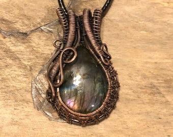 Labradorite Copper Wire Wrapped Pendant Jewelry Gift