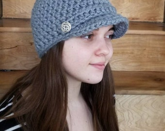 Newsboy Cap / Handmade / Hat with visor / hat with brim / warm winter hat / ready to ship / Wool / Acrylic / Slate / Blue-grey /Light grey