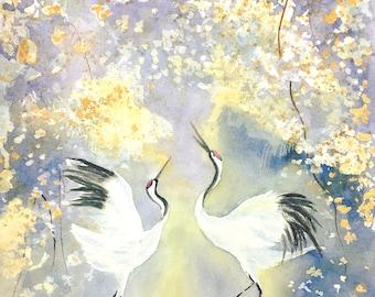 Original Watercolor Painting of Red Crowned Crane