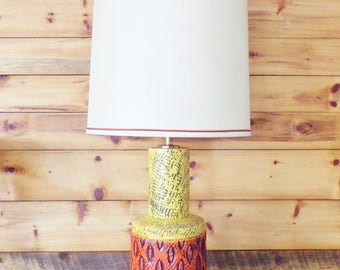 Large Mid Century Ceramic Table Lamp - Vintage Brutalist Style - Orange and Yellow - Original Shade