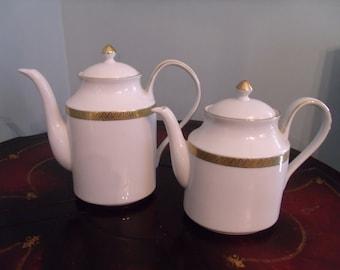 2, large, vintage tea pots, pure gold detail, porcelain teapots