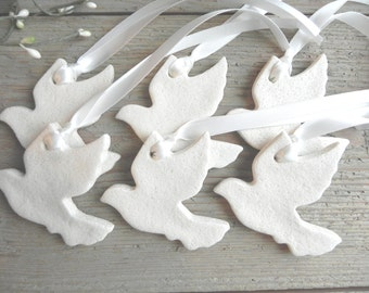 Silhouette Dove Shape Cutouts for Wedding / Baptism Favor Finished Salt Dough Ornaments
