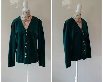 vintage 1960s green velvet blazer with gold buttons