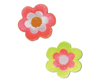 Neon Flowers Iron On Applique, Flower Applique, Floral Iron On Patch, Flowers Patch, Neon Patch, Floral Patch, Embroidered Patch, 2 in pack