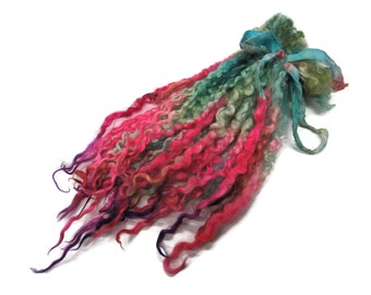 """1oz Premium Hand picked Teeswater wool locks, 12""""-14"""", Extreme locks for tailspinning and felting  (16E)"""