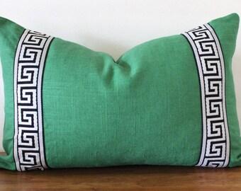 NEW- Greek Key Trim Pillow - Pillow - Green Slub Linen- Black and White Greek Key