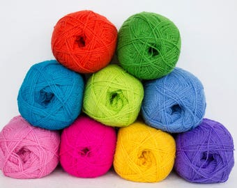 Wool yarn for knitting, crochet-100% natural wool yarn set in  bright neon colors
